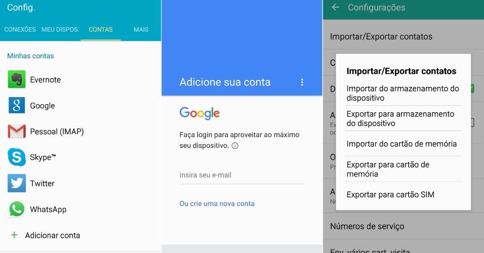 """De Android para Android: Se você era dono de um celular Android e quer levar seus contatos para um Android novo conectado à web, basta entrar em """"Configurações"""" > """"Contas"""" e logar-se na sua conta Google/Gmail. Caso esteja faltando algum contato, os celulares Android trazem a opção de importar ou exportar contatos diretamente da memória do aparelho ou no cartão de memória. No celular antigo, basta ir no app """"Contatos"""", depois no menu """"Configurações"""" > """"Contatos"""" > """"Importar/Exportar contatos"""" > """"Importar do armazenamento do dispositivo"""" ou """"Importar do cartão de memória"""""""