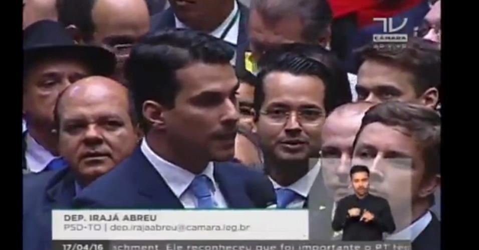 17.abr.2016 - O deputado Irajá Abreu (PSD-TO) votou contra o impeachment da presidente Dilma Rousseff