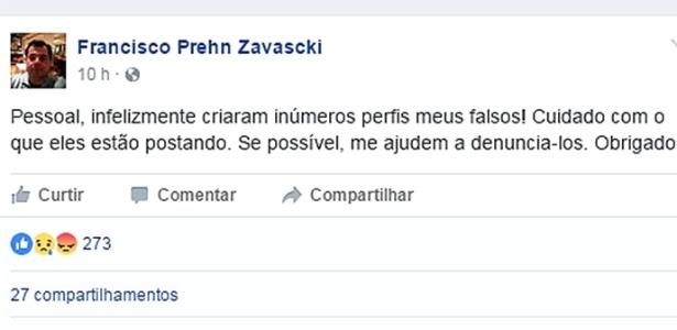 O advogado Francisco Zavascki, filho do ministro do STF Teori Zavascki, publicou o alerta em sua página no Facebook