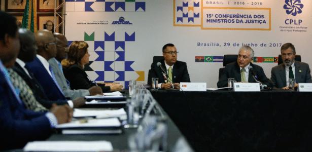 Temer participa de evento com ministros da Justiça da Comunidade dos Países de Língua Portuguesa, nesta quinta-feira, no Ministério da Justiça