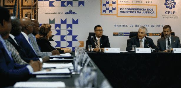 Temer participa de evento com ministros da Justiça da Comunidade dos Países de Língua Portuguesa, nesta quinta-feira, no Ministério da Justiça - Presidência da República/Divulgação