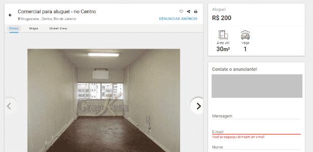 escritório de 30 mtros quadrados, Urguaiana/centro do Rio, com aluguel de R$ 200, cond. R$ 861, IPTU R$ 148, e carência de dois anos para o aluguel - Imovelweb/Reprodução - Imovelweb/Reprodução