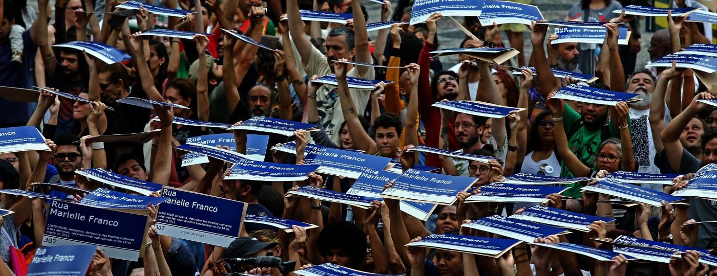 Mil placas em homenagem a Marielle Franco - Fábio Motta/Estadão Conteúdo