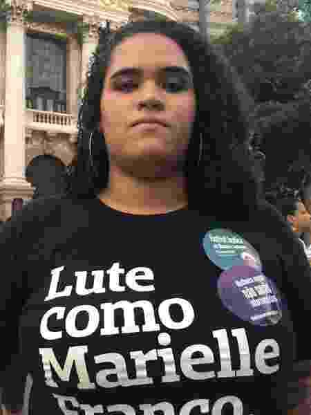 """Luyara Franco, filha de Marielle diz em ato 1 ano depois: """"eu não queria estar aqui"""" - Taís Vilela/UOL"""