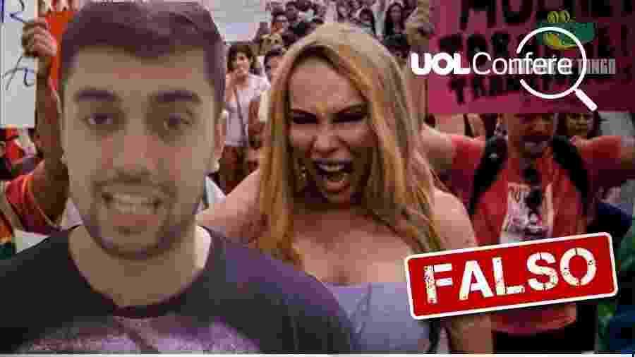 2.agor.2019 - Vídeo do canal Jacaré de Tanga com informação falsa de que Bolsonaro anunciou fim das cotas nas universidades federais - Arte/UOL