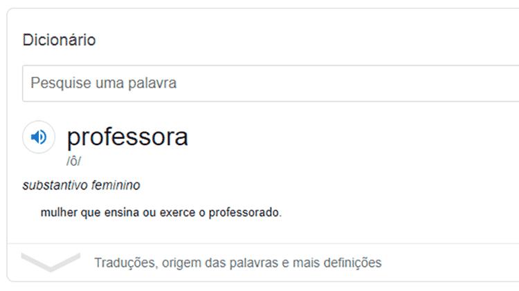 Significado de professora no Google foi alterado e tirou definição de gíria ligada à prostituição - Reprodução - Reprodução