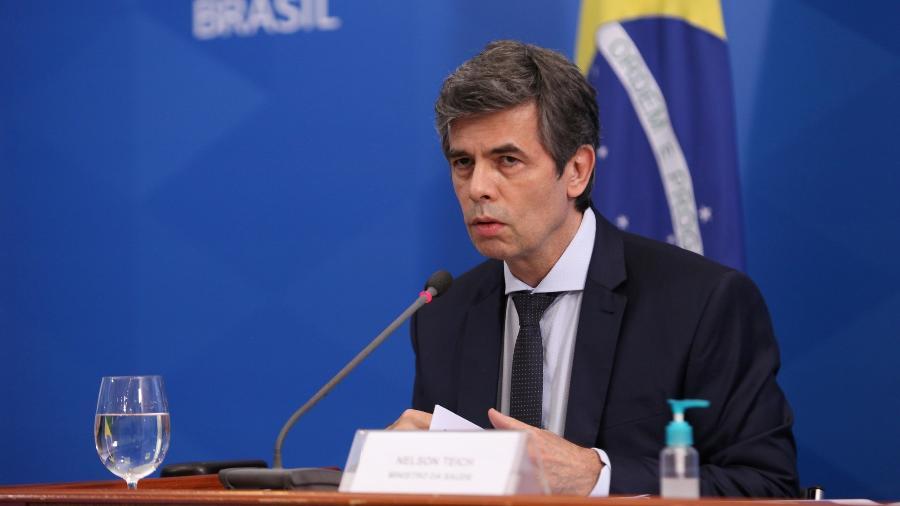 11/05/2020 - O ministro da Saúde, Nelson Teich, em entrevista coletiva concedida no Palácio do Planalto - Júlio Nascimento/Divulgação PR