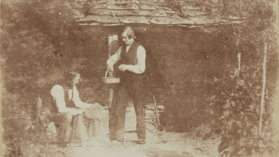 """Assistente de Talbot retratado em uma das experiências do fotógrafo com a incipiente tecnologia de câmeras - Reprodução/Sotheby""""s"""