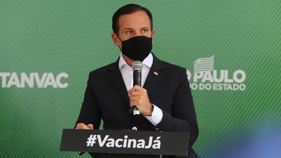 28.abr.2021 - Governador de São Paulo, João Doria (PSDB), durante entrevista coletiva na sede do Instituto Butantan, na capital paulista - Divulgação/Governo do Estado de São Paulo
