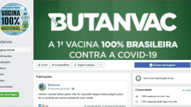 Perfil falso da vacina ButanVac no Facebook  - Reprodução/Facebook - Reprodução/Facebook
