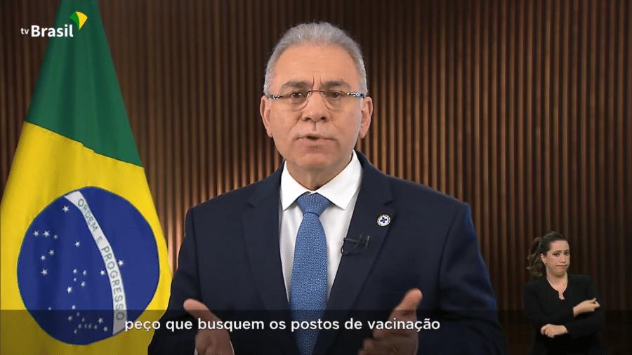 Ministro da Saúde, Marcelo Queiroga, fez pronunciamento para falar da pandemia no Brasil - Reprodução/YouTube