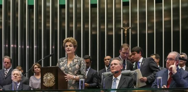 A presidente afastada Dilma Rousseff na última visita que fez ao Congresso, em fevereiro