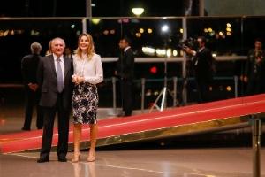 O presidente Michel Temer e a mulher, Marcela em evento de 2016