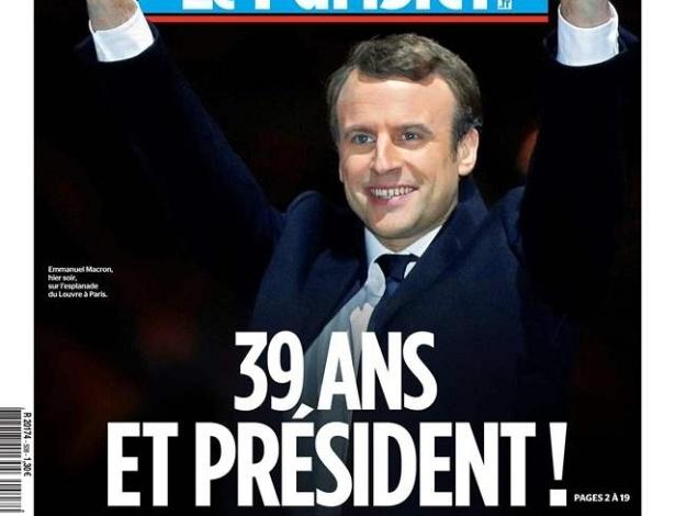 """""""Com 39 anos e presidente!"""", publica o jornal """"Le Parisien"""""""