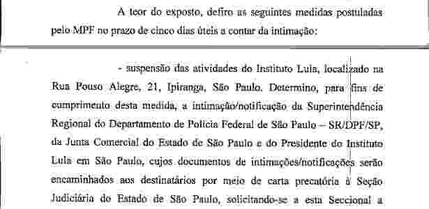 Decisão do juiz Ricardo Augusto Soares Leite determinou a suspensão das atividades do Instituto Lula - Reprodução/Justiça Federal do Distrito Federal