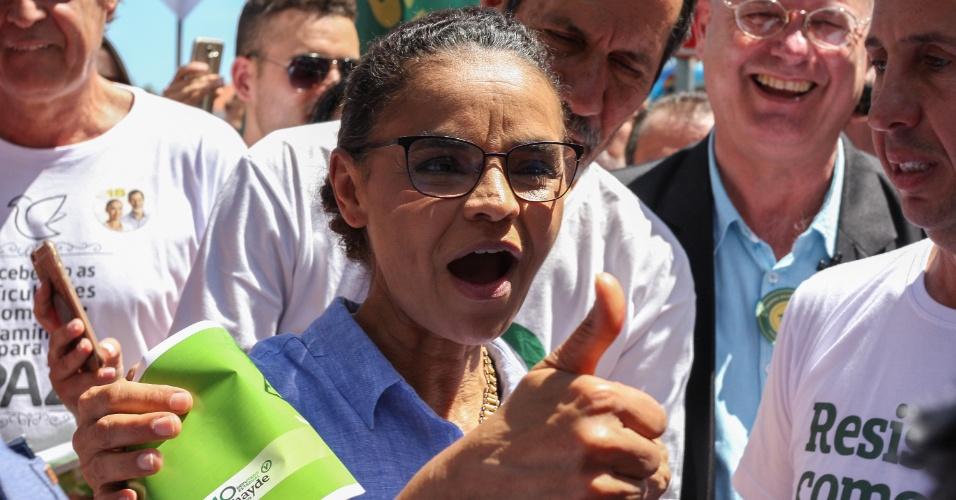 23.set.2018 - A candidata Marina Silva (Rede) em caminhada pela Feirinha do Largo da Ordem, no centro de Curitiba (PR)