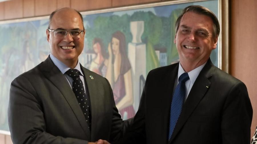 Wilson Witzel (PSC) e Jair Bolsonaro (PSL) se encontram em Brasília - Divulgação/Assessoria