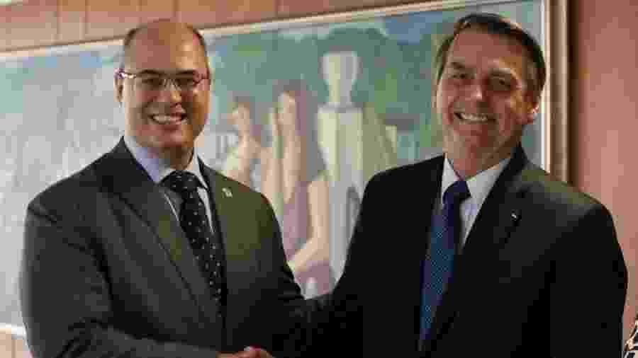 27.mar.2019 - Wilson Witzel (PSC) e Jair Bolsonaro (PSL) se encontram em Brasília - Divulgação/Assessoria
