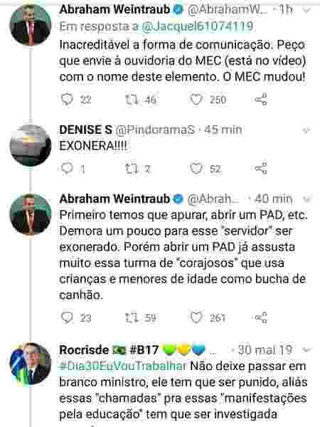 Comentários feitos pelo ministro da Educação, Abraham Weintraub, no Twitter sobre professor de Alagoas - Reprodução