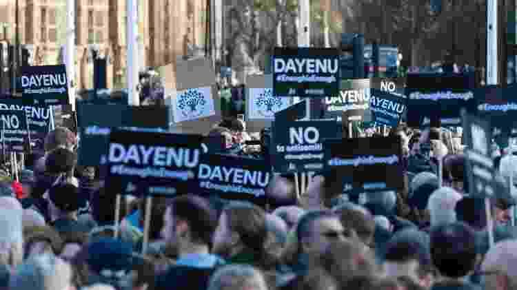 Manifestantes fazem acusações antissemitas contra os trabalhistas em ato em Londres - Getty Images