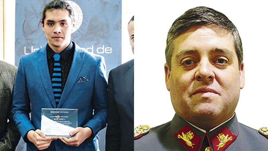 O estudante Ignacio Prada e o coronel Christian Astorquiza Oddó. Ambos estavam a bordo da aeronave da Força Aérea do Chile que desapareceu - Reprodução