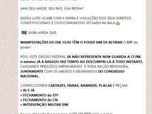 08.mar.2020 – Em grupo de WhatsApp, militante bolsonarista pede fechamento do Congresso e do STF como pauta das manifestções de 15 de março. A mensagem foi enviada em 8 de março de 2020. - Reprodução - Reprodução