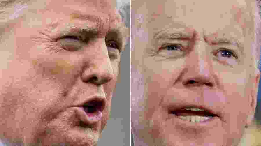 O presidente dos EUA, Donald Trump, e seu adversário na corrida de 2020 pela Casa Branca, Joe Biden - Saul Loeb e Ronda Churchill/AFP