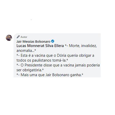 Jair Bolsonaro citou João Doria no comentário - Reprodução - Reprodução