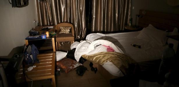 Interior de um dos quartos do hotel em que ocorreu ataque em Mali