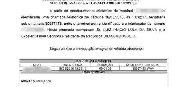 Às 13h32, as interceptações continuavam. Lula e Dilma Rousseff conversam. O conteúdo foi vazado no final da tarde da quarta (16) - Reprodução