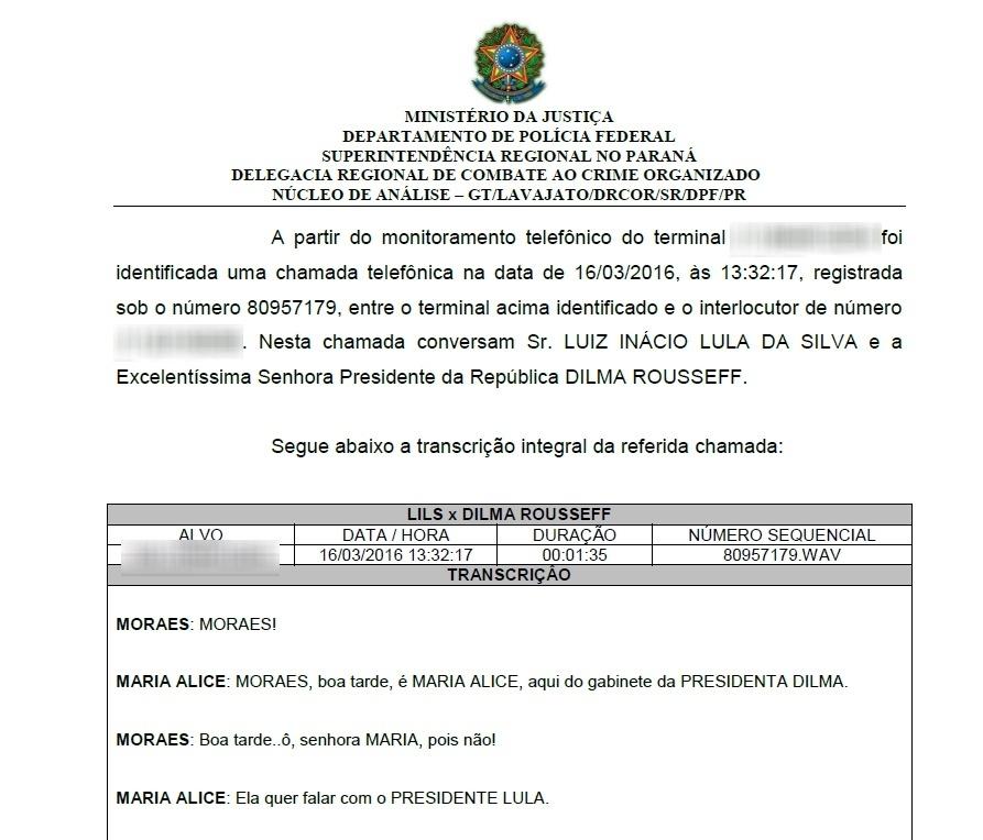 Às 13h32, as interceptações continuavam. Lula e Dilma Rousseff conversam. O conteúdo foi vazado no final da tarde da quarta (16)