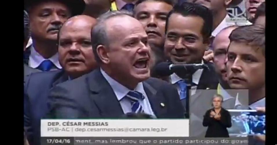 17.abr.2016 - O deputado César Messias (PSB-AC) votou contra o impeachment da presidente Dilma Roussef