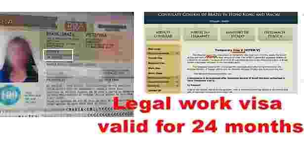 Anúncio feito por agência filipina no Facebook para trabalho com visto no Brasil - Reprodução