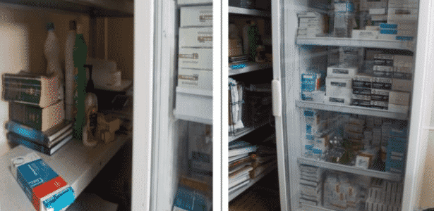Garrafa d'água e embalagem de suco eram guardados em refrigerador dos medicamentos no Amapá  - CGU/Reprodução - CGU/Reprodução