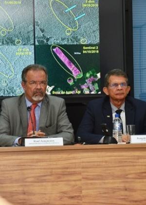 Os ministros Raul Jungmann (Segurança Pública) e Joaquim Silva e Luna (Defesa)