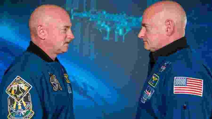 Scott Kelly (à dir.) passou 340 dias orbitando a Terra a bordo da Estação Espacial Internacional  - Divulgação/Nasa