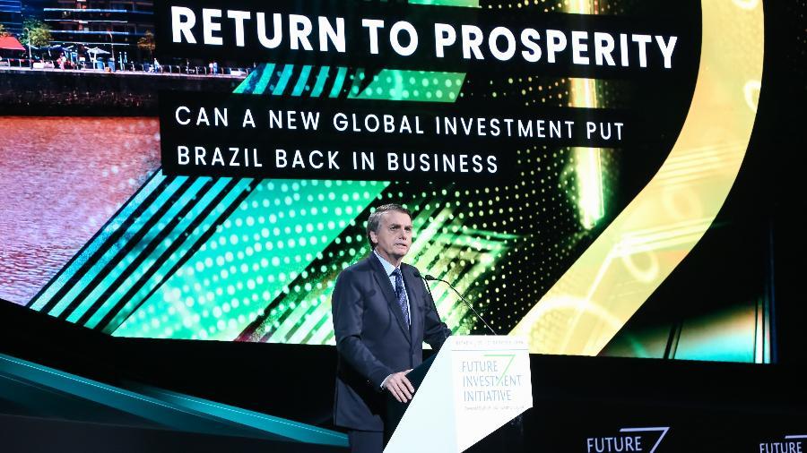 """Jair Bolsonaro discursa sobre o Brasil na Arábia Saudita em palestra intitulada: """"O retorno à prosperidade"""" - José Dias - 30.out.19/PR"""