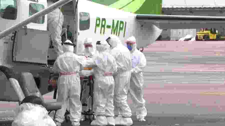 UTIs aéreas são usadas para socorrer doentes mais graves de coronavírus e casis suspeitos da doença de cidades isolada do AM para Manaus - Secom/AM
