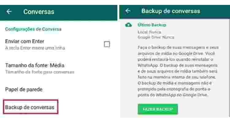 WhatsApp - fazer backup parte 2 - Reprodução - Reprodução