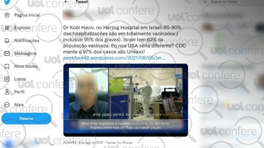 13.ago.2021 - Em post no Twitter, médica usa dados fora de contexto de hospital de Israel para acusar CDC de mentir sobre casos de covid em pessoas não vacinadas - Arte sobre Reprodução/Twitter
