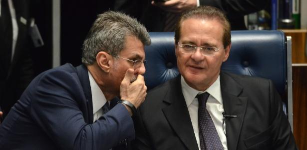 Decisão anunciada por Romero Jucá (e) irritou Renan Calheiros (d)