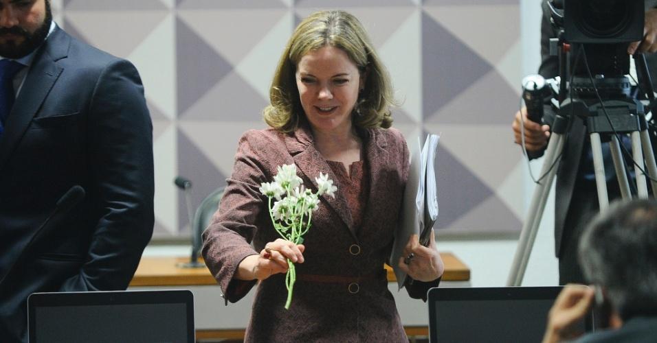 26.abr.2016 - A senadora Gleisi Hoffmann (PT-PR) carrega flores dadas na chegada à comissão especial de impeachment por membros do Comitê Pró-Democracia, composto por servidores do Congresso, estudantes, centrais sindicais e movimentos sociais