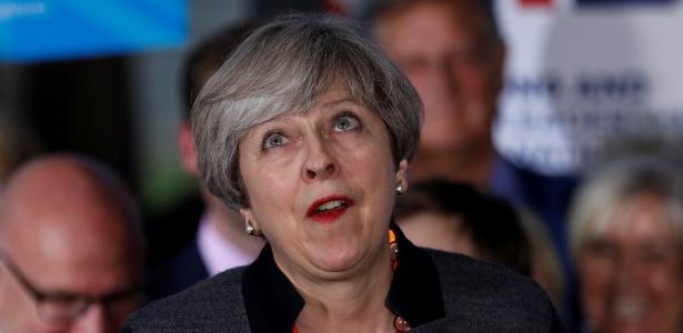 A premiê britânica, Theresa May, em evento de campanha em Bristol