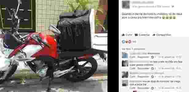 Em postagem no Facebook, motoboy escreveu: ''Quando o cliente demora e o motoboy só de raiva abre a caixa pra Marmitex esfria'' - Reprodução/Facebook/Motoboy's e Entregadores - Reprodução/Facebook/Motoboy's e Entregadores
