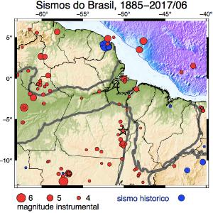 Mapa aponta locais onde ocorreram tremores na faixa sísmica do Pará, localizada entre a Serra dos Gradaús até a Ilha de Marajó
