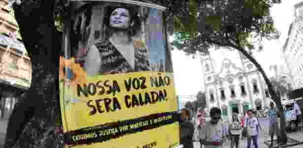 20.mar.2018 - Manifestantes reagem ao crime e defendem legado de Marielle - Aldo Carneiro/Futura Press/Estadão Conteúdo