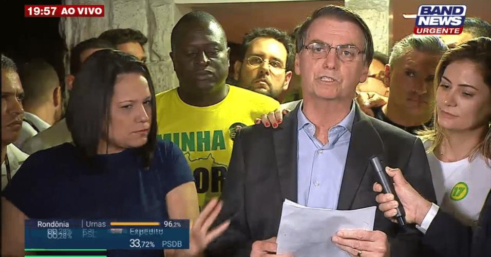 Em primeiro discurso como presidente-eleito, Jair Bolsonaro (PSL), enfatiza defesa na liberdade dos brasileiros. ?Trabalharemos dia e hoje para isso?