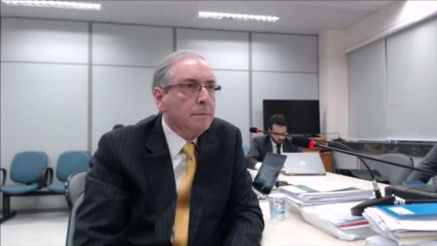 O ex-deputado Eduardo Cunha durante depoimento ao juiz Sergio Moro, em outubro - Reprodução