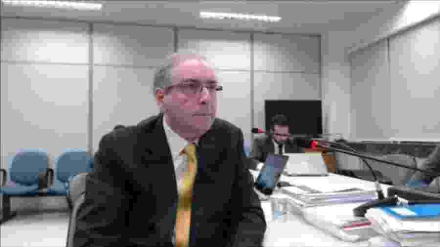 O ex-deputado Eduardo Cunha em interrogatório comandado pelo então juiz Sergio Moro - Reprodução - 31.out.2018/JF-PR