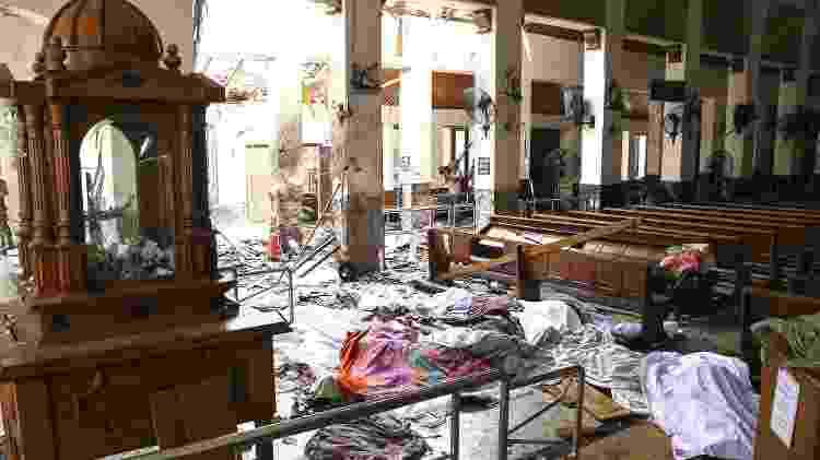 Corpos ficaram espalhados pelo chão da Igreja de Santo Antônio, em Colombo - Ishara S. Kodikara/AFP - Ishara S. Kodikara/AFP